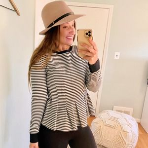 Chelsea28 Thick Soft Striped Peplum Top/Sweater S